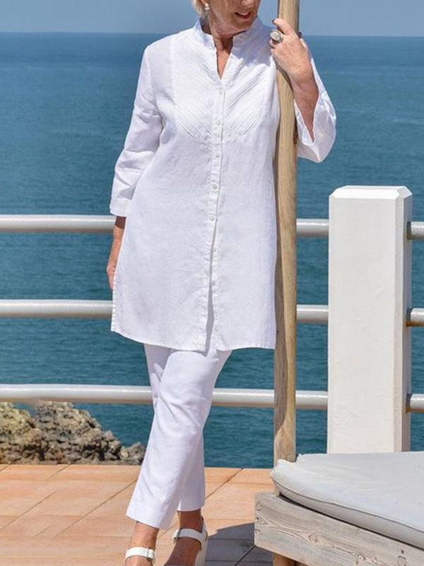Shirt Long Sleeve Cotton And Linen Women's Suit