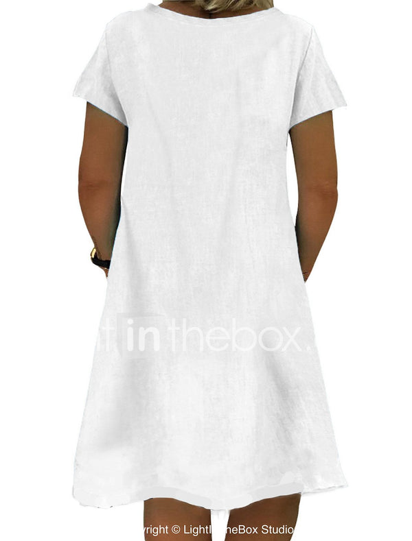 Women's Shift Dress Knee Length Dress Short Sleeve