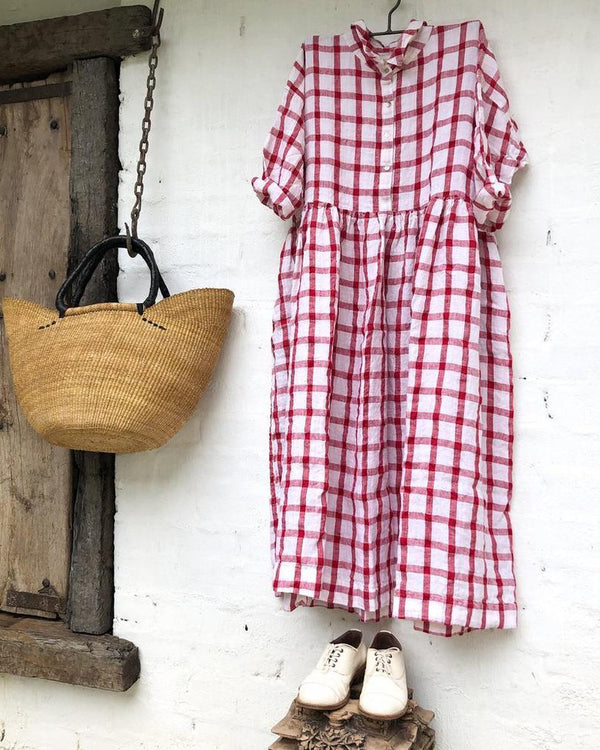 Linen Red & White Grid