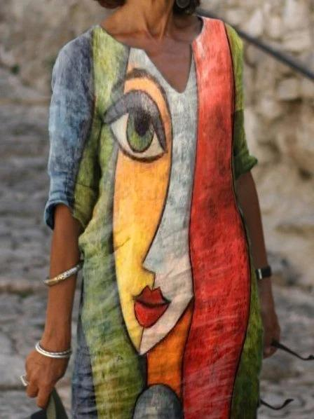 Multicolor Printed Abstract Casual Shift Dresses