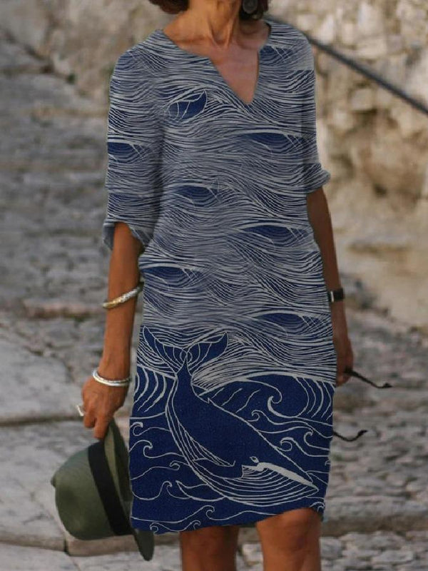 Casual Ocean Print V-Neck Midi Dress