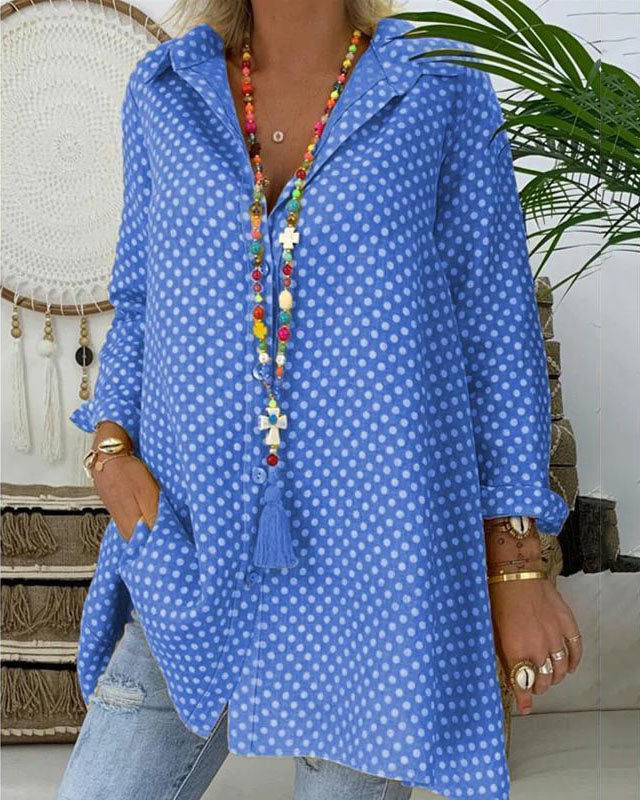 Women Boho Dot Long Blouses