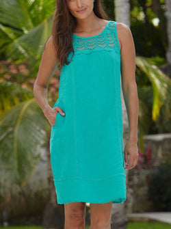Sienna Linen Dress | Emerald