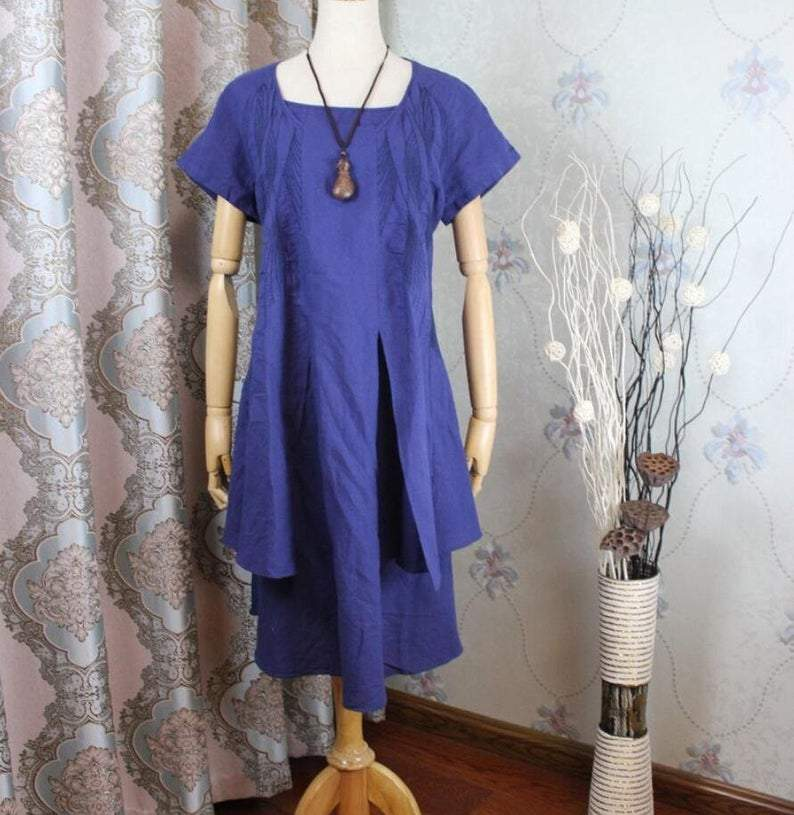 Summer Loose Fitting  Tunic Linen Dress Layered Linen Dress