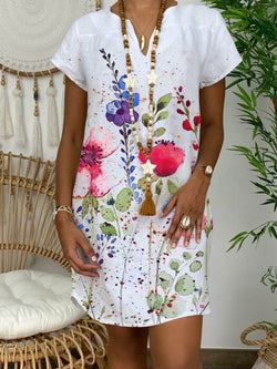 Casual Flower Blossoming Short Sleeve Dress
