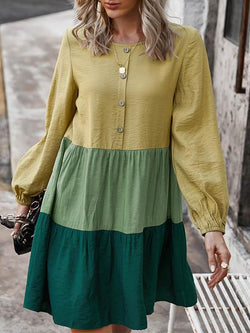 2021 Spring And Summer Long Sleeve Stitching Colorful Dress