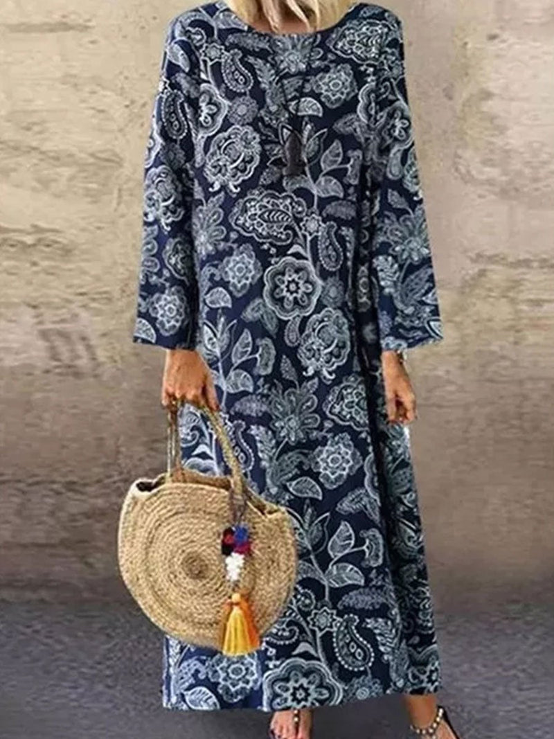 Floral Pullover Temperament Cotton And Linen Midi Dress