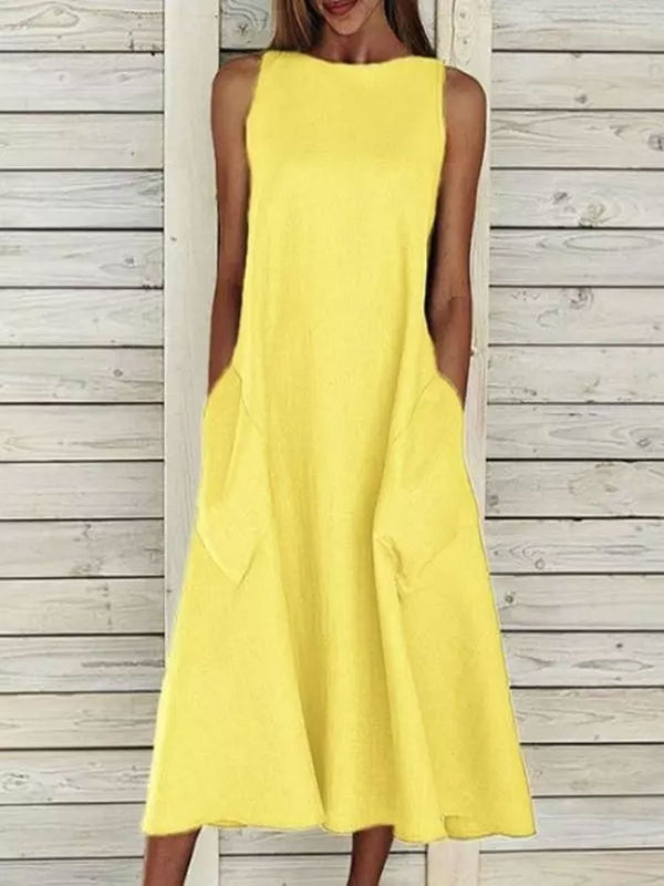 Round Neck Sleeveless Double Pocket Dress