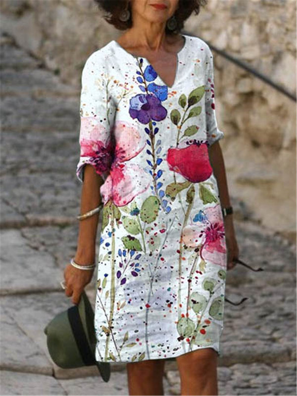 Casual Half Sleeve V-Neck Flower Dresses