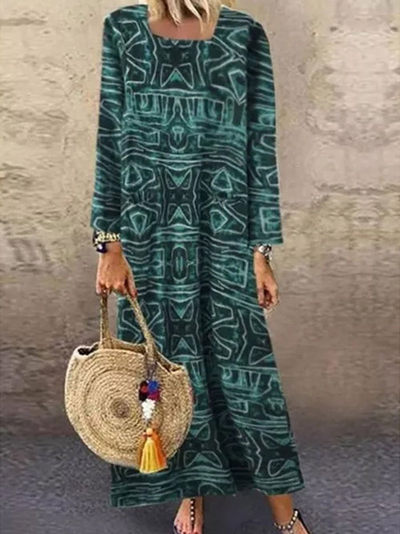 Cotton And Linen Long Sleeve Round Neck Print Dress
