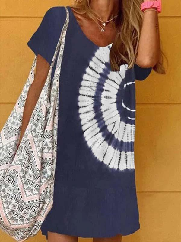 Navy Blue Tie-Dye Holiday Daily Printed V Neck A-Line Casual Short Sleeve Dresses