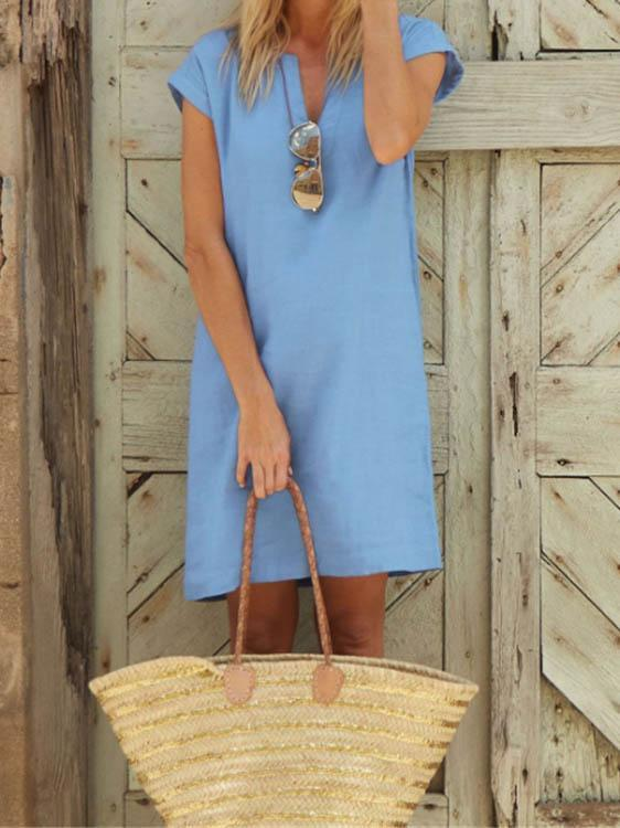 Casual Solid Color V-Neck Short-Sleeved Cotton And Linen Dress