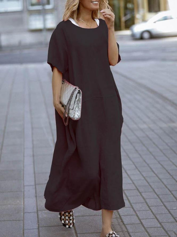 Casual Loose Pocket Short Sleeve Dress