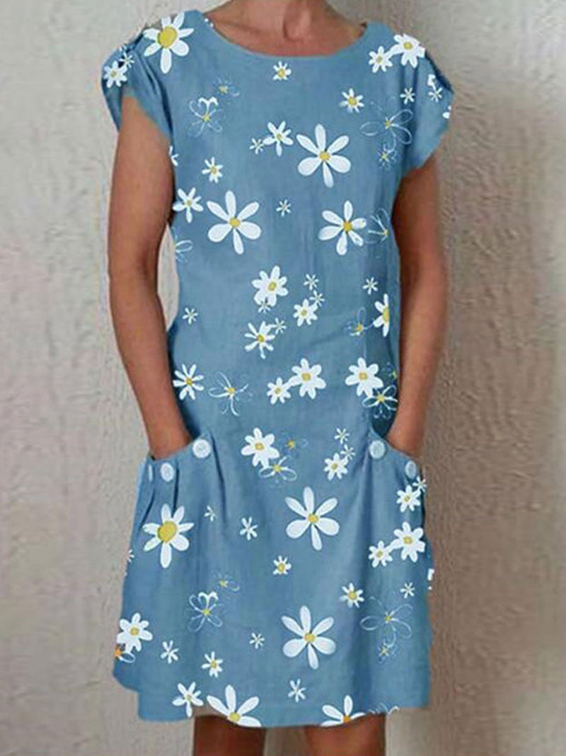 Daisy Print Short Sleeve Pocket Dress