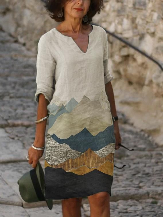 Mountain Print Cotton And Linen Skirt