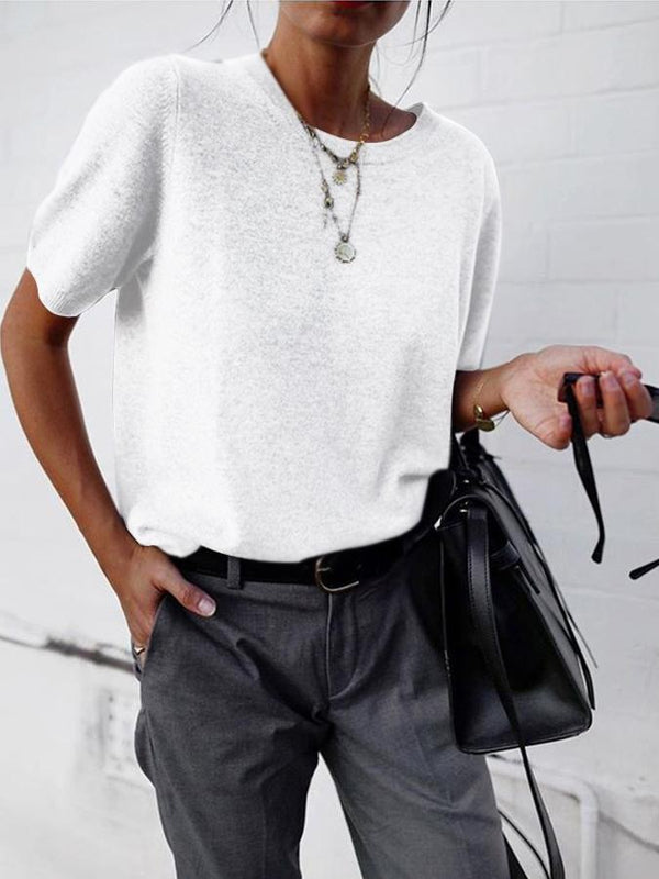 Cotton Vintage Round Neck Short Sleeve Shirts & Tops