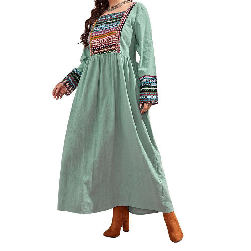 2021 Square Neck Cotton And Linen Printed Women'S Dress
