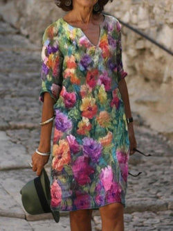 Multicolor-V-Neck-Floral-Half-Sleeve-Dresses