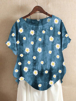 Blue Vintage Short Sleeve Shift Shirts & Tops