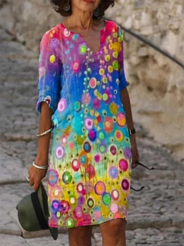 Multicolor Vintage Half Sleeve Dresses