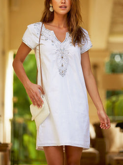 Embroidered Dress | White