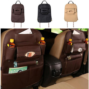 Faux Leather Car Back Seat Organizer