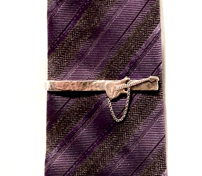 Hammered Sterling Silver Guitar Tie Clip