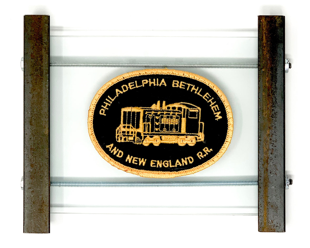 Rare Philadelphia Bethlehem New England RailRoad conductors patch in handmade angle iron frame