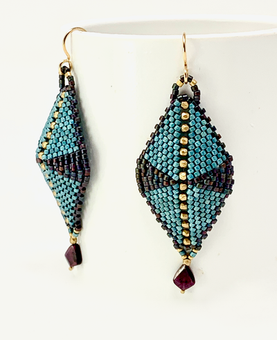 Hand-woven glass beads, gold filled bead, garnet drop earrings
