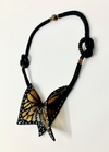 Hand-woven stained glass beaded monarch butterfly necklace