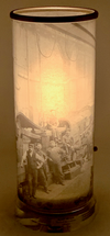 1890's Bethlehem Iron workers, Rare Image Printed on Glass Cylinder Luminaire