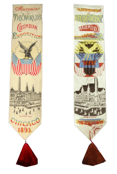 1893- Columbian Exposition in Chicago Commemorative silk ribbon (By Early 1900's, Lehigh Valley was America's silk capital).