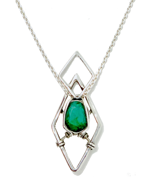 Sterling Silver Wire Wrapped Natural Emerald Necklace