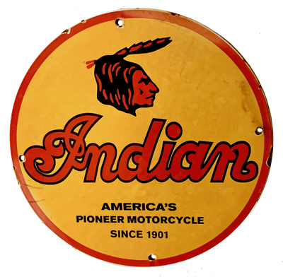 Vintage Indian Motorcycle Advertising Sign, C.1930-1950's