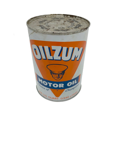 Vintage OILZUM Champion Motor Oil Fully intact 1 Qt Tin Can