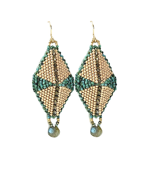 Hand-woven glass beads, pyrite, labradorite drop earrings