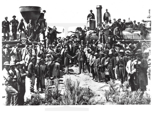 1976 Press Photo of the 1869 Transcontinental Railroad
