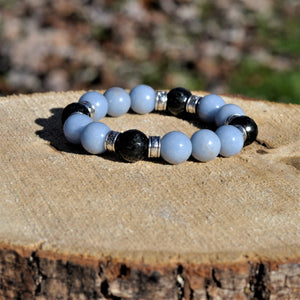 Mala Bracelet Angelite and Black Tourmaline