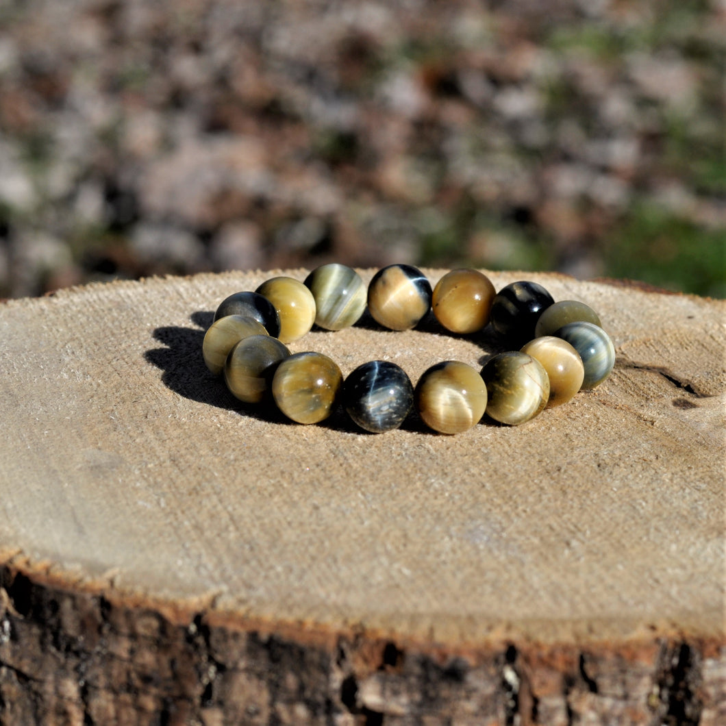 Blue Tiger Eye Mala Bracelet [large bead]