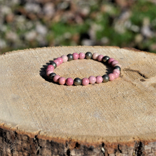 Rhodonite and Pyrite Mala Bracelet