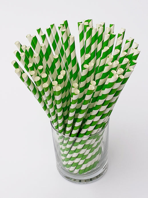 Green stripe paper straws made in UK. Our biodegradable eco friendly paper straws are recyclable with a low carbon footprint. Say no to plastic – our planet matters.