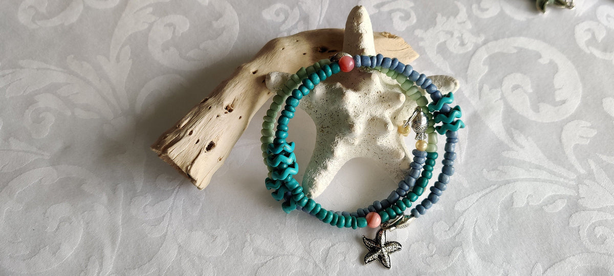 Gift for her, Beach theme, Blue beads Wrap bracelet, Dainty charms
