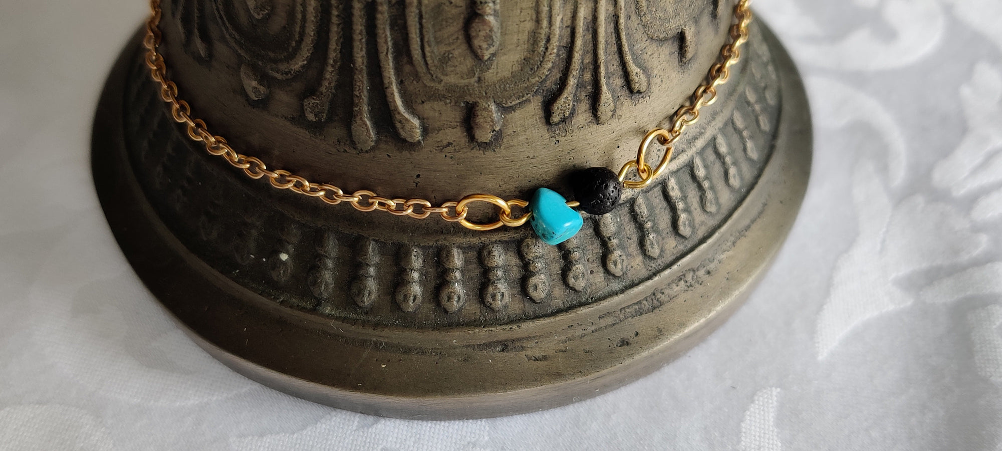 Healing crystals, Gift for her, Minimalist,  Bracelet , Lava Bead, Turquoise, Gold plated chain, Aromatherapy
