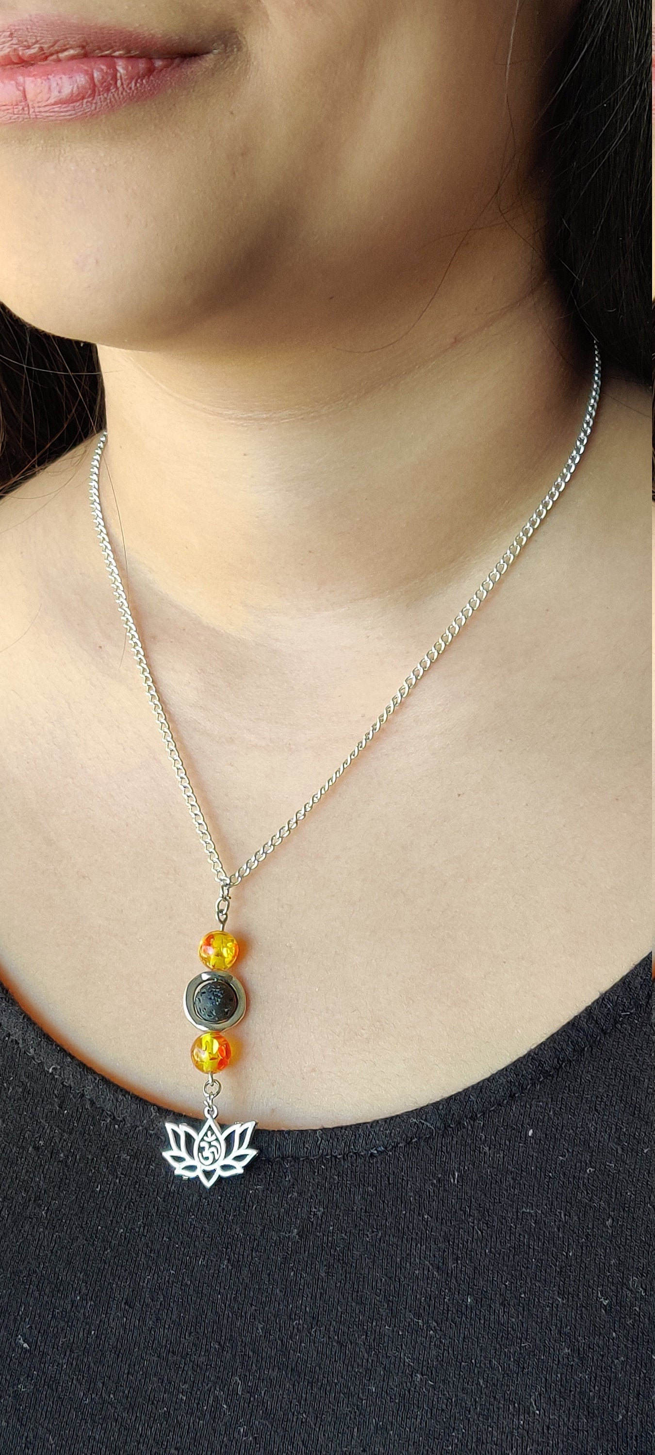 Healing crystals, Chakra jewelry,  Gift for her, Minimalist necklace,  Citrine, Lava bead, 18 inch Silver plated chain, Lotus Charm