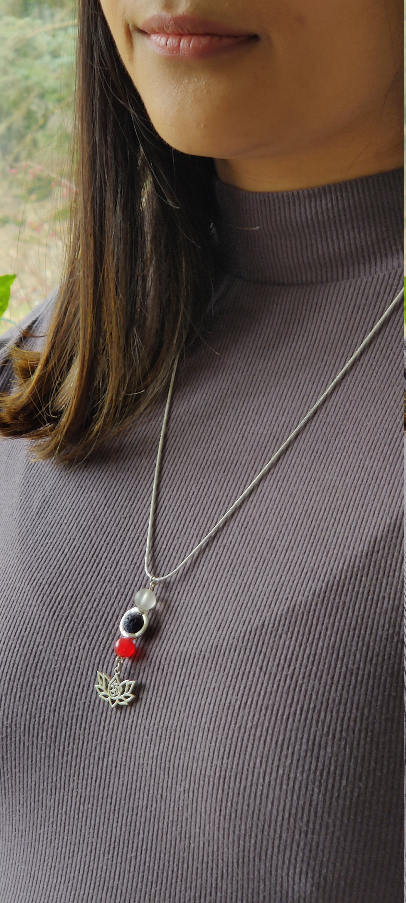 Healing crystals, Chakra jewelry,  Gift for her, Minimalist necklace,  Carnelian, Lava bead, 18 inch Silver plated chain, Lotus Charm