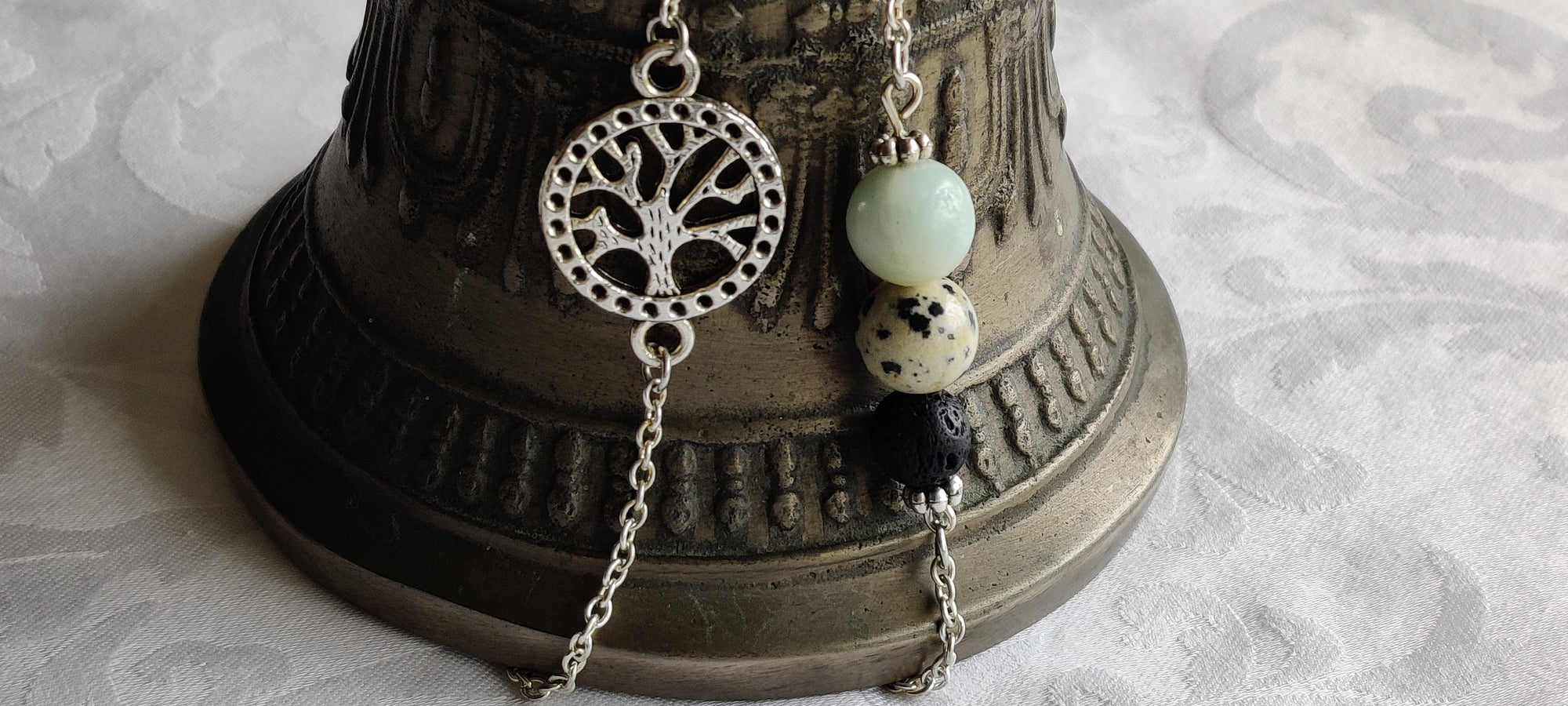 Aroma Chakra jewelry, Gift for her, Long necklace, Dalmatian, Aventurine, Lava bead, Tree of life ,26 in Silver plated chain