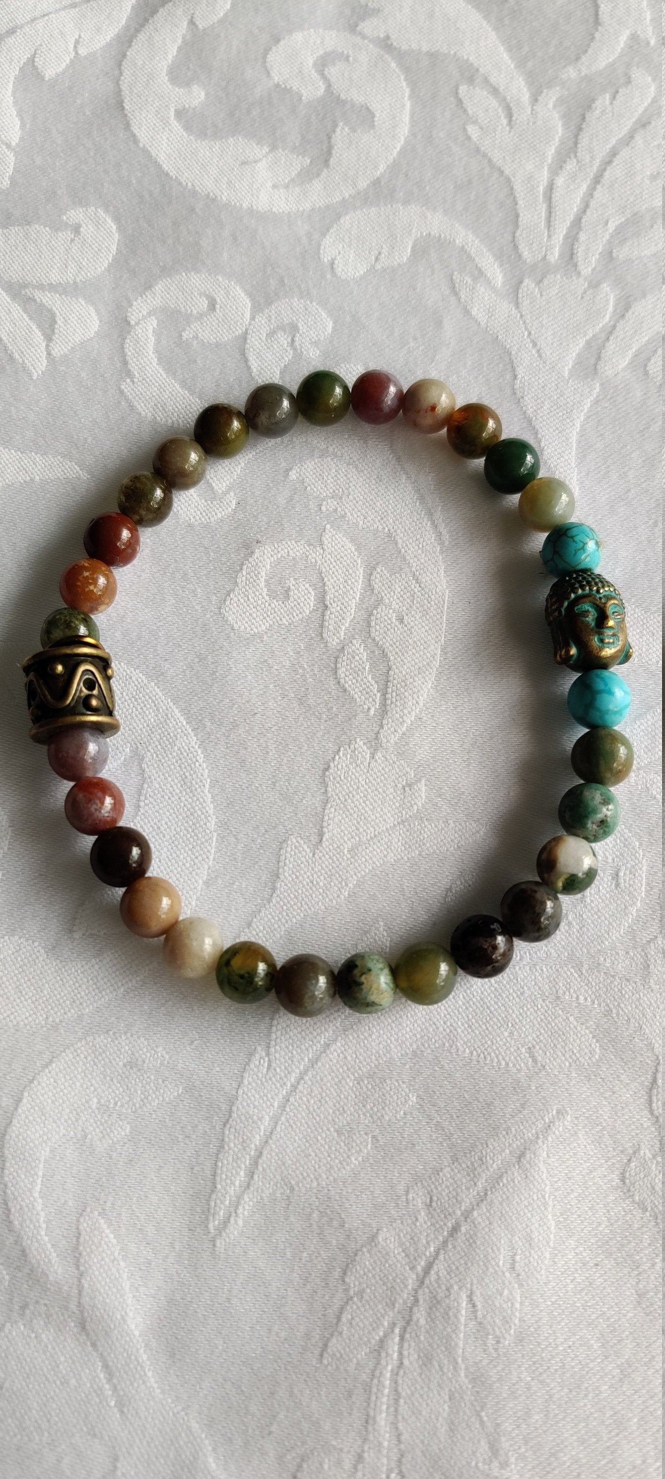 Gifts for her, Yoga jewelry, Healing beads, Agate and Turquois, Mala bracelet, Stretch Cord