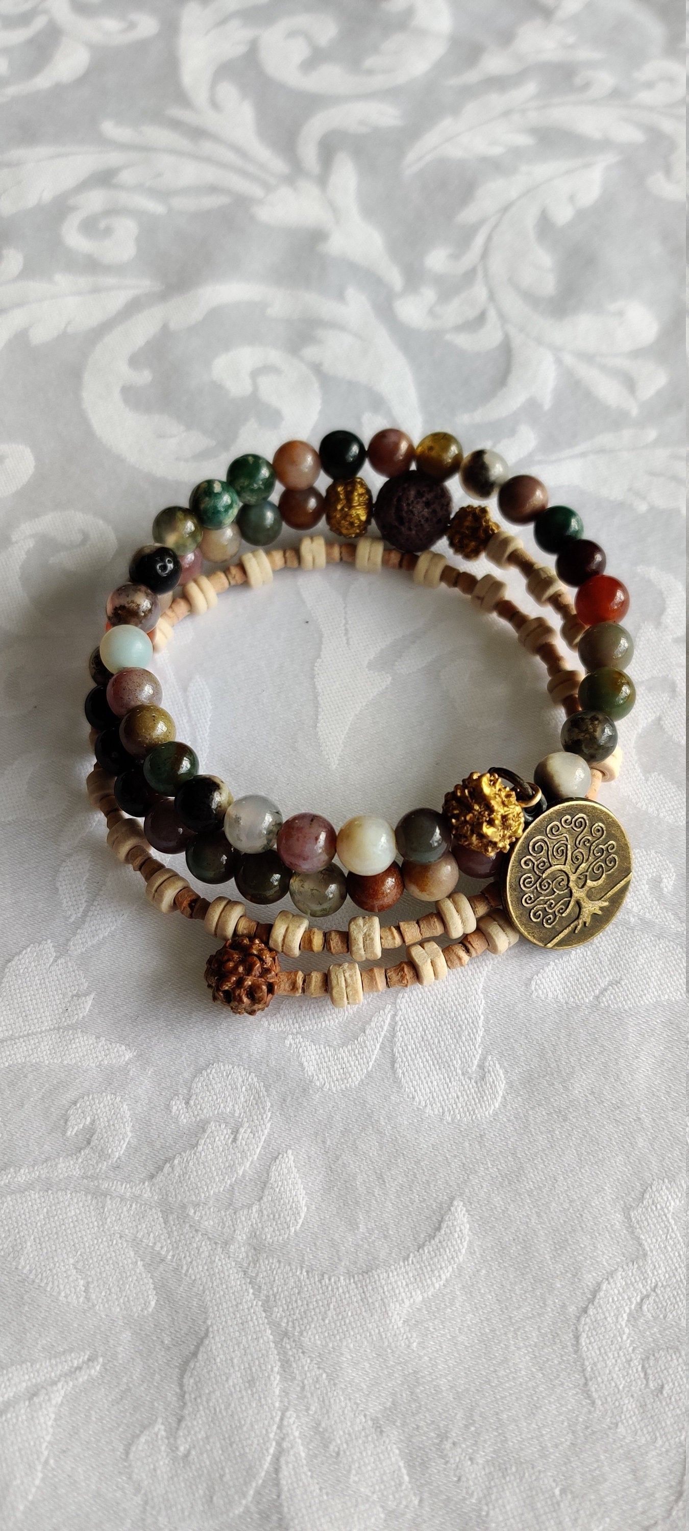 Gifts for her, Yoga jewelry, Healing beads, Agate, Rudraksha, Tulsi, Mala bracelet, Wire Wrap, Tree of Life charm, Blessed with Reiki energy