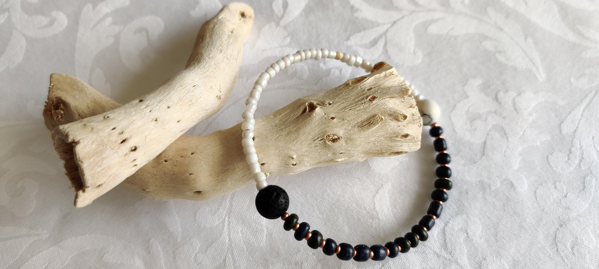 Gifts for her, Yin Yang, Healing beads, Howlite, Aromatherapy Lava bead, Wrap Bracelet