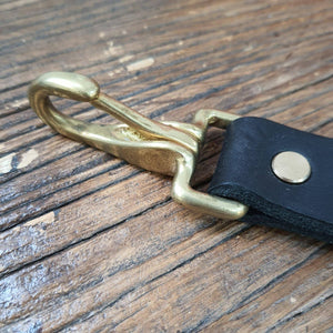 Black leather and brass key fob - The Emporium - Buy Handmade - the home of handmade gifts in Northants